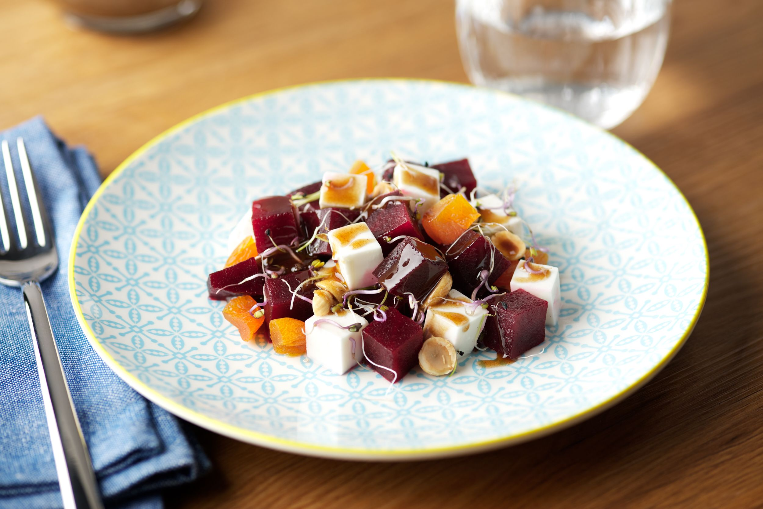 Beetroot salad with dried apricots and hazelnuts