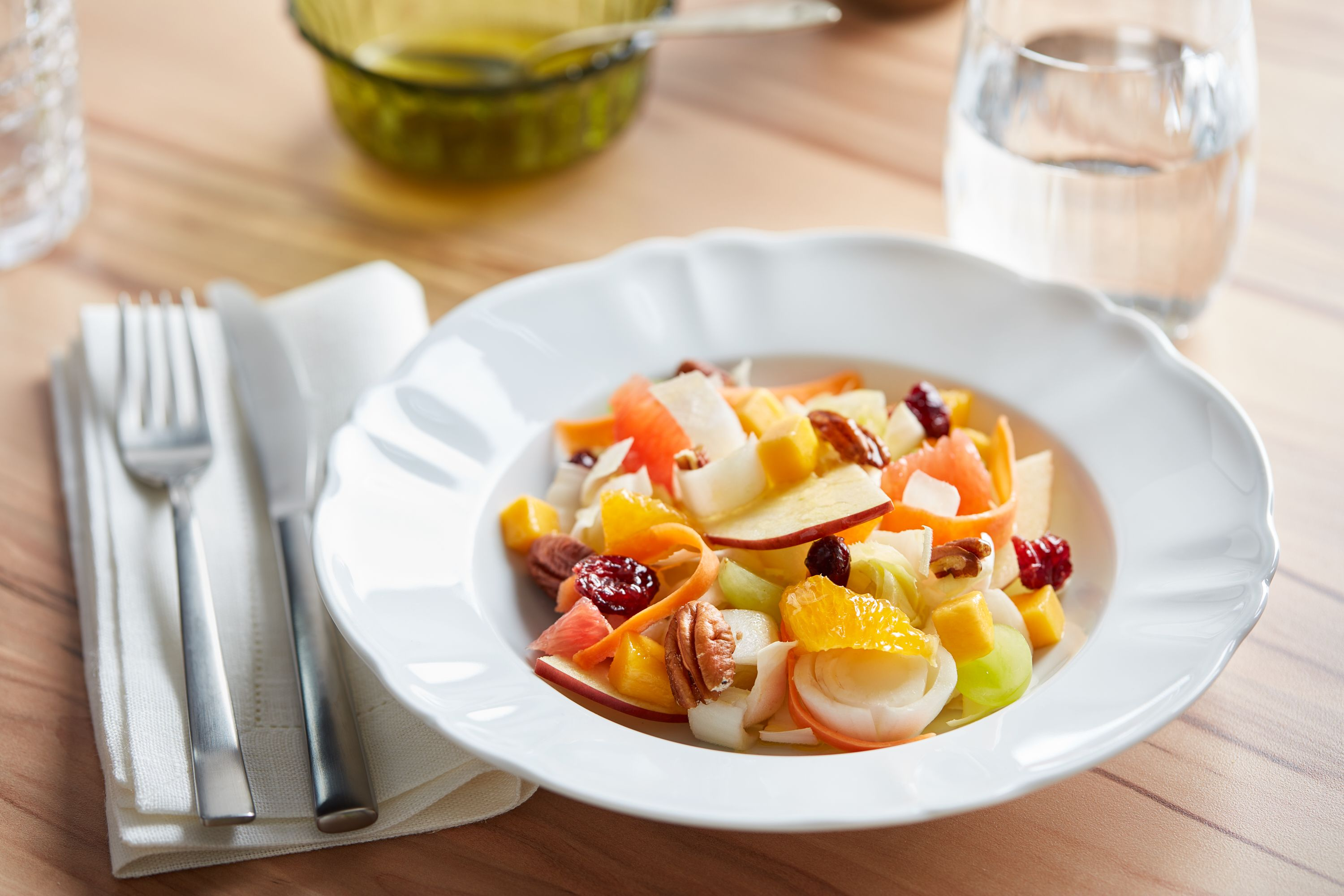 {Fruit and Vegetable Salad with Dried Cranberries and Pecans}