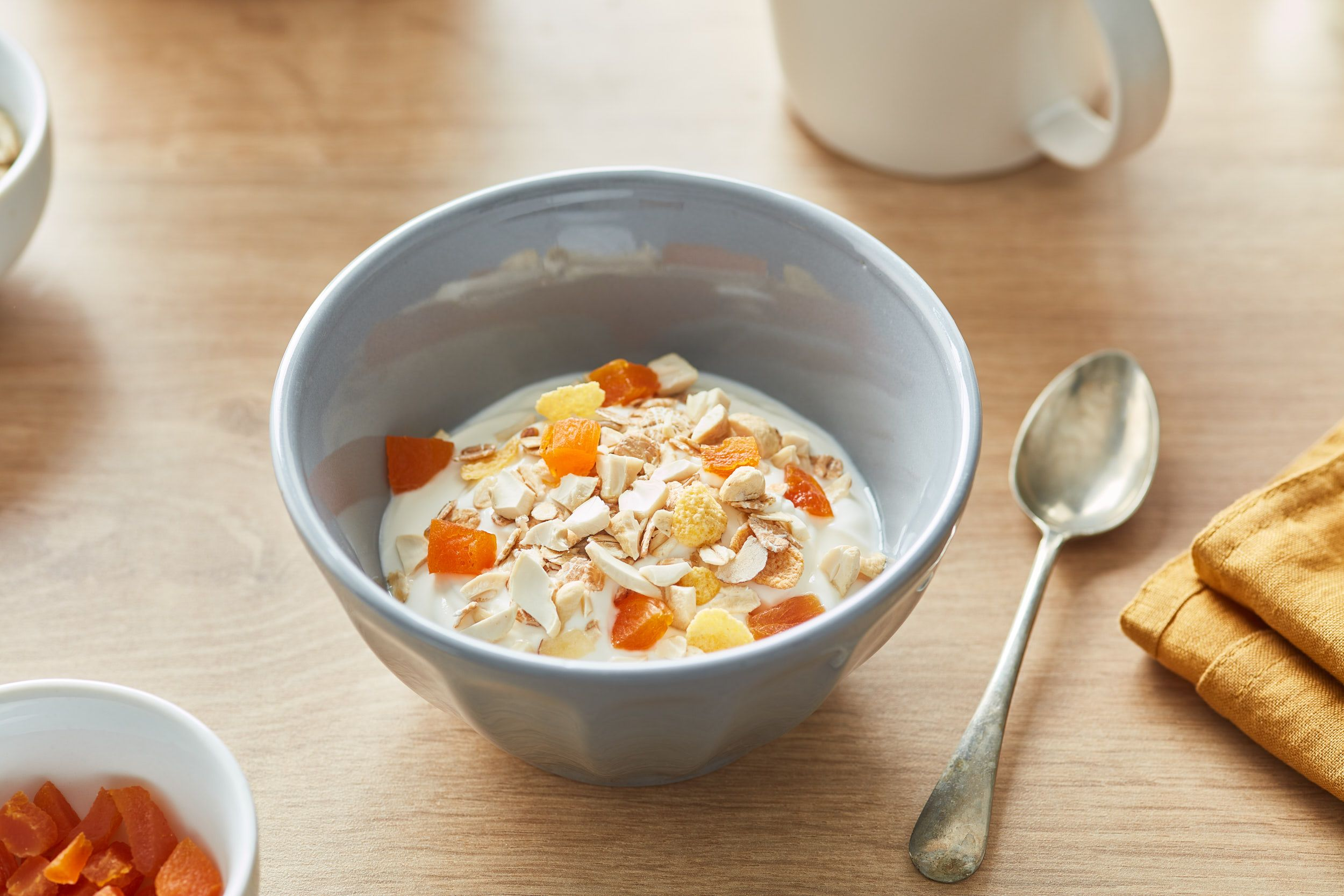 {Yogurt Bowl with Cashews and Dried Apricots}