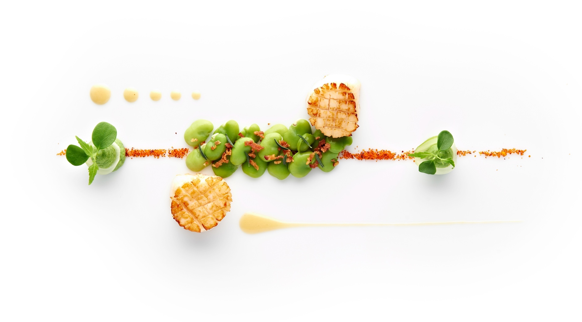 Sautéed Scallops, Broad Beans with Smoked Bacon, Espelette Pepper And Caramelized Hazelnuts