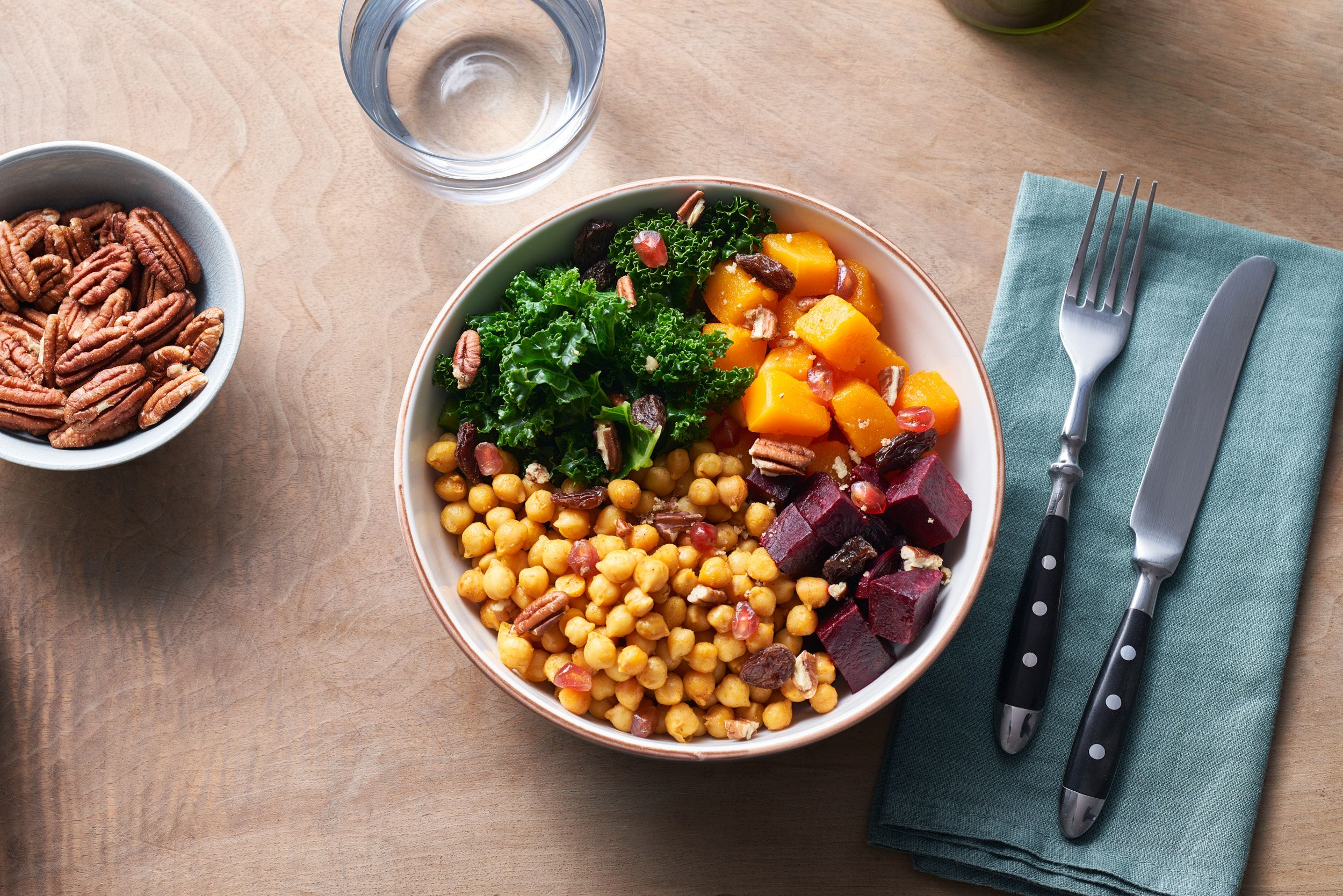 {Turmeric Chickpea Bowl with Pecans and Raisins}