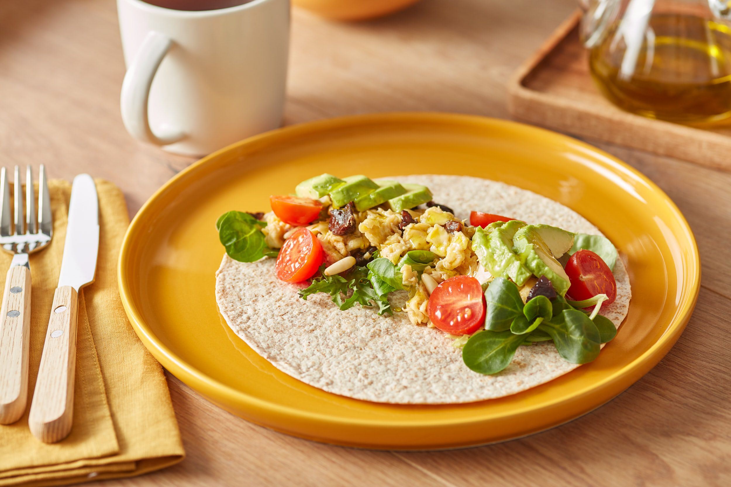 {Breakfast Burritos with Pine Nuts and Prunes}