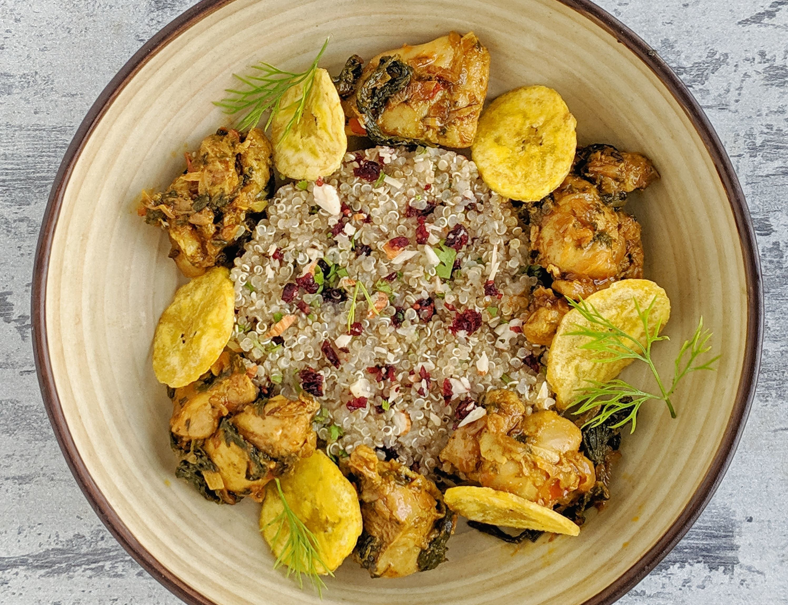 Gongura Chicken with Cranberry Almond Quinoa