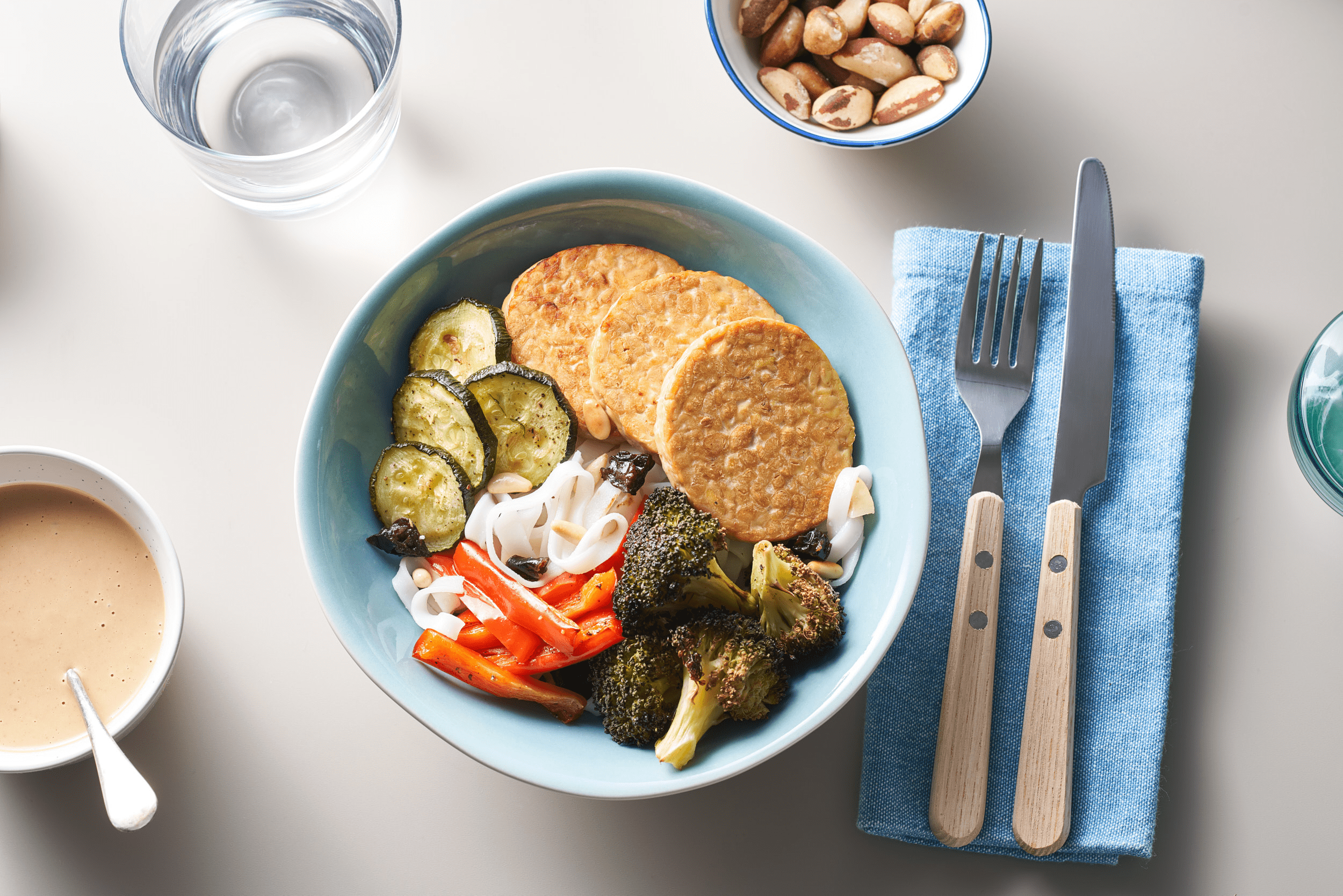{Thai Tempeh Bowl with Brazil Nuts, Pine Nuts & Prunes}
