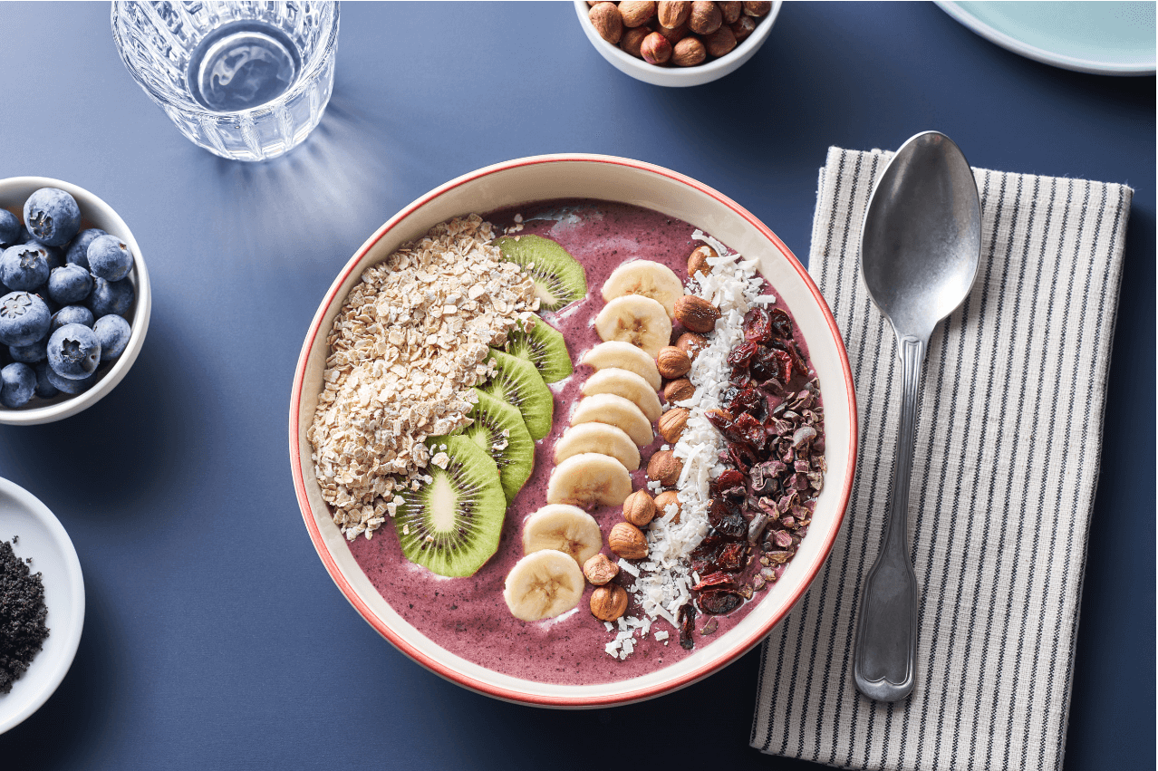 {Açai Bowl with Hazelnuts and Dried Cranberries}