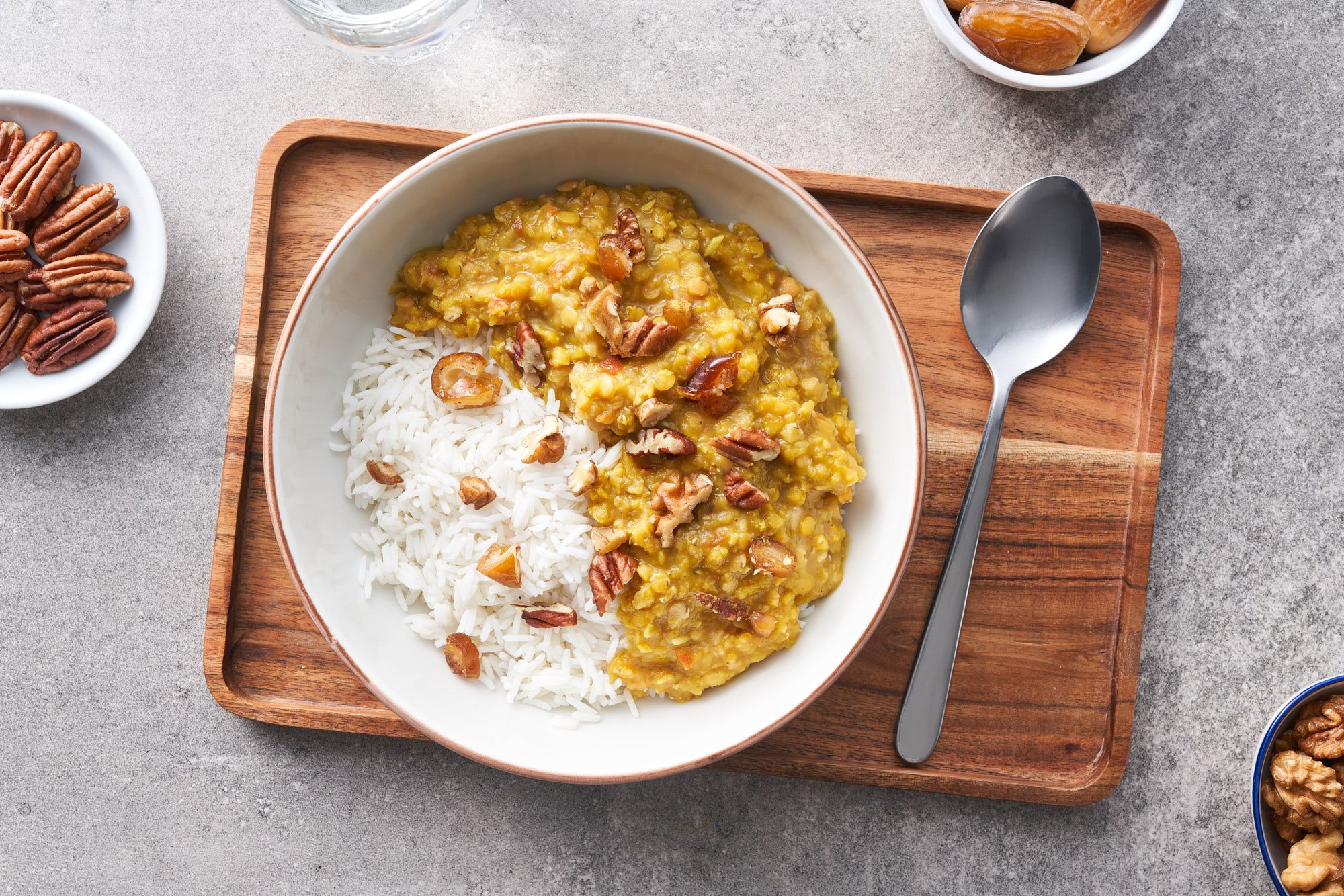 {Masoor Dal Buddha Bowl with Dates, Walnuts and Pecans}