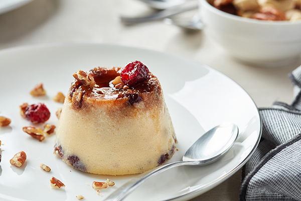 Apple Crème-Caramel with Pecans, Dried Cranberries and Ginger