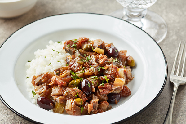 Caponata with Pistachios and Raisins with Rice