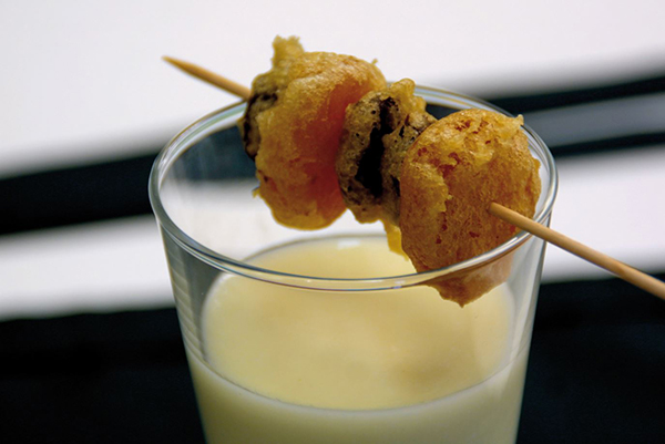 Chilled Macadamia Soup with a Sultana and Dried Apricot Brochette