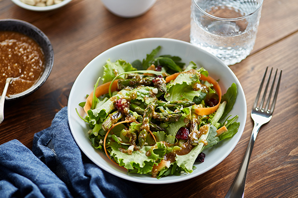 Cranberry and Asparagus Salad with Peanut Sauce