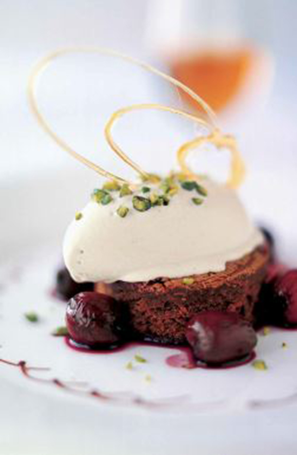Hot Cherries with Chocolate Brownie and Pistachio Ice Cream