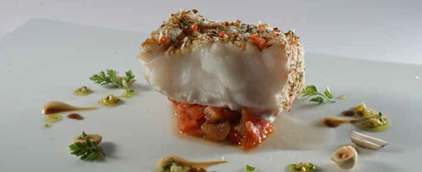Monkfish Wrapped in Dry Romesco with Picada and Sofrito Cooked Two Ways