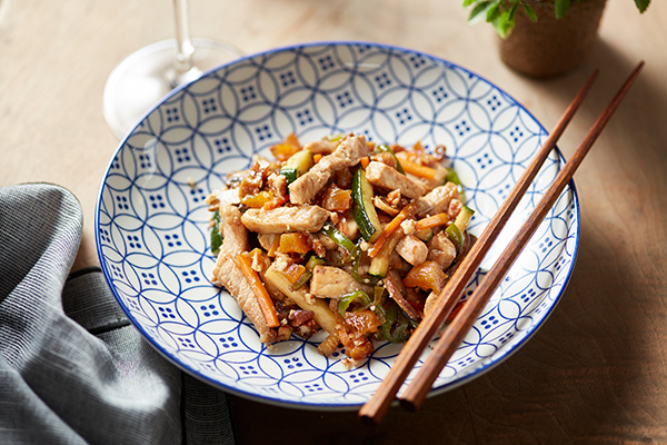 Pork Stir-Fry with Dried Apricots, Dried Figs and Brazil Nuts