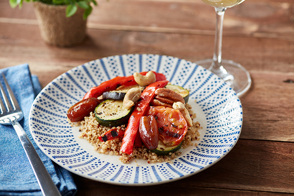 Quinoa with Marinated Vegetables, Dates, Pecans and Cashews
