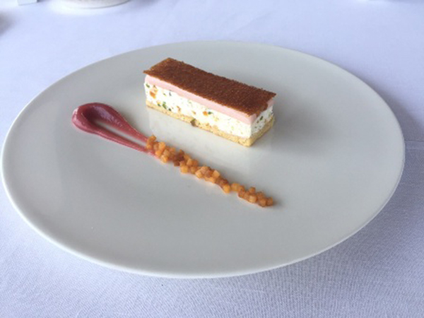 Nougat Parfait with a Peach Sorbet and Almond Pan De Gene