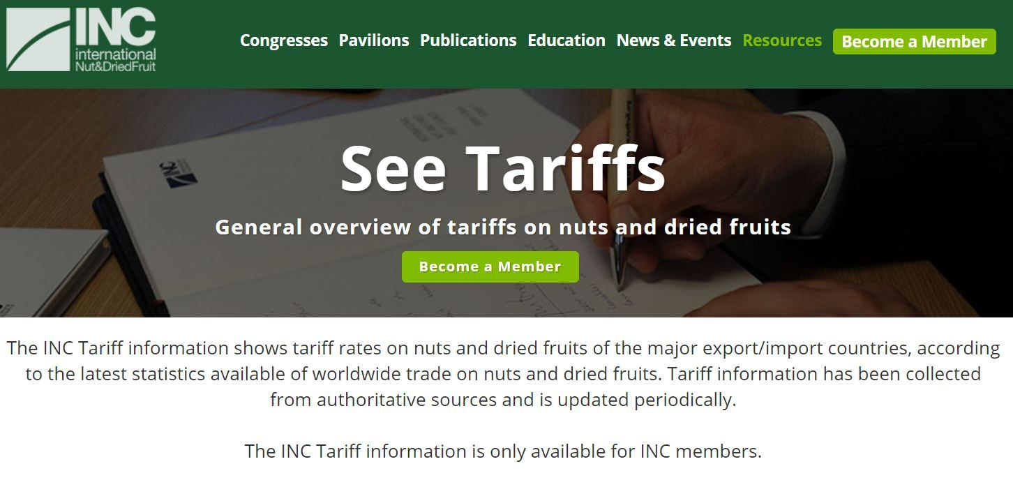 Tariff Rates of Nuts and Dried Fruits Now Avaliable Online